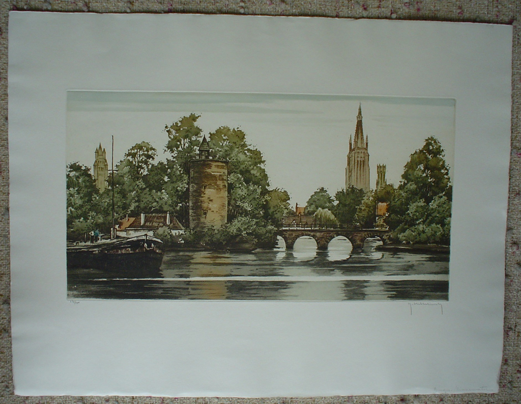 Bruges Minnewater by Roger Hebbelinck, shown with full margins - original etching, signed and numbered 263/ 350