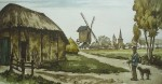 La Rentree Au Village by Roger Hebbelinck - original etching, signed and numbered 265/ 350