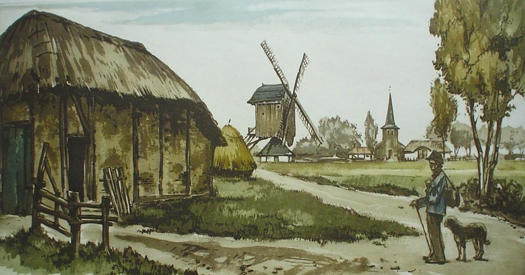 La Rentree Au Village by Roger Hebbelinck - original etching, signed and numbered 265/ 350