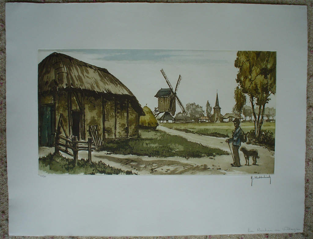 La Rentree Au Village by Roger Hebbelinck, shown with full margins - original etching, signed and numbered 265/ 350