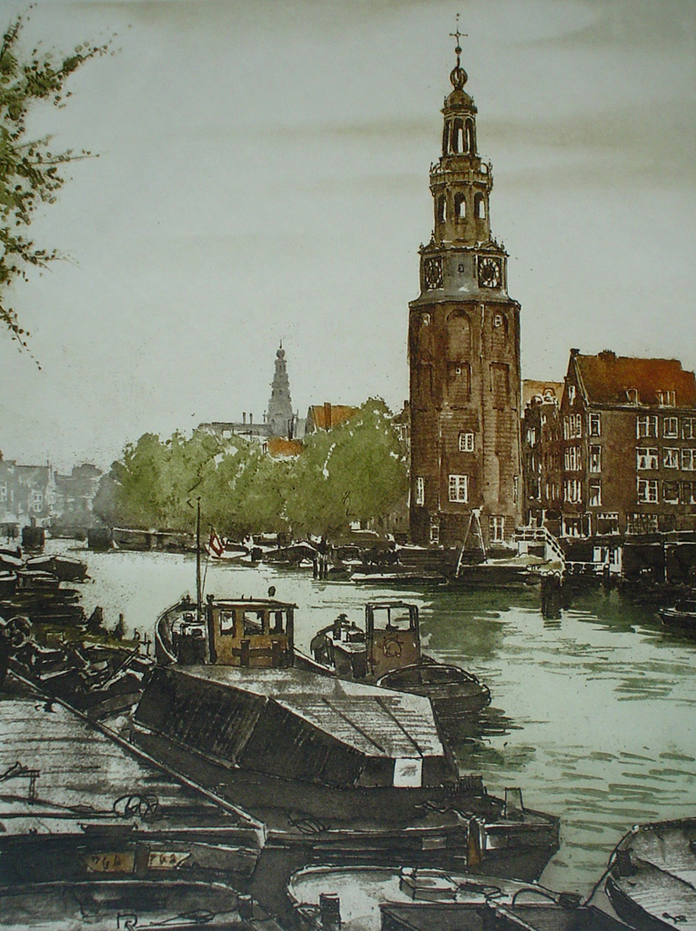 Amsterdam Montelbaanstoren by Roger Hebbelinck - original etching, signed and numbered 137/ 350