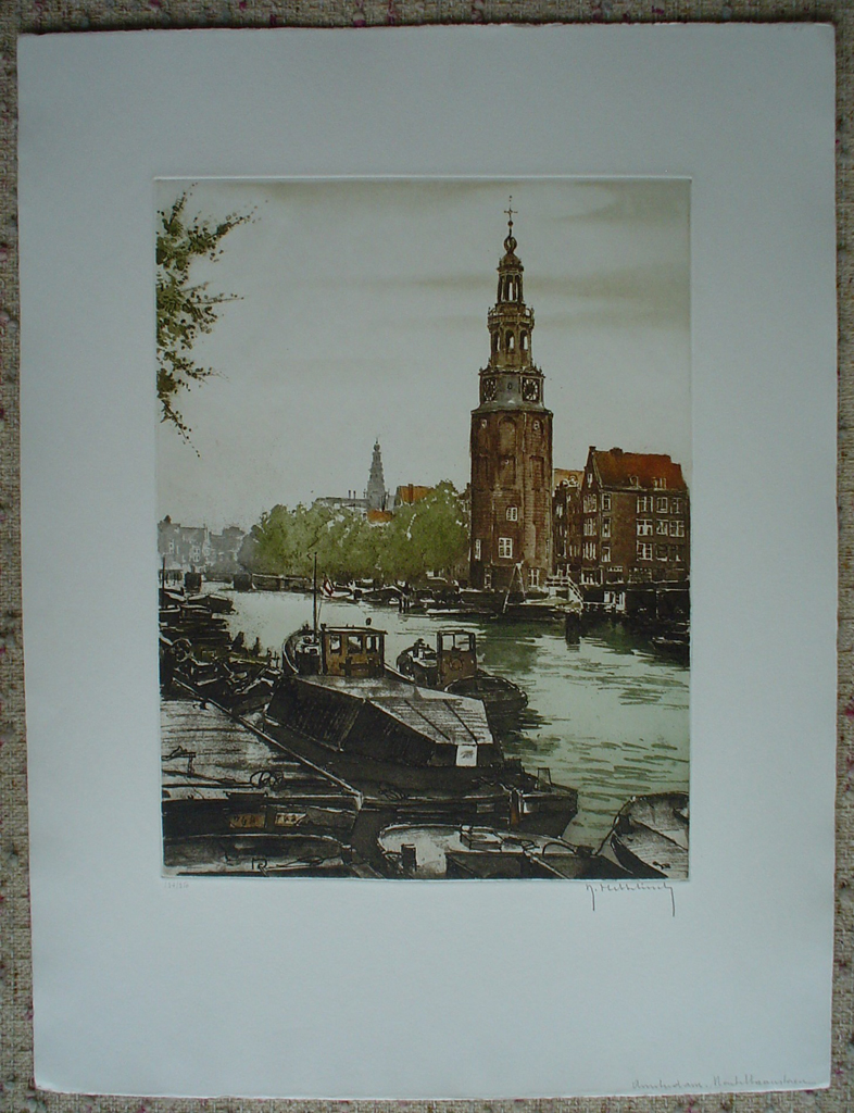 Amsterdam Montelbaanstoren by Roger Hebbelinck, shown with full margins  - original etching, signed and numbered 137/ 350