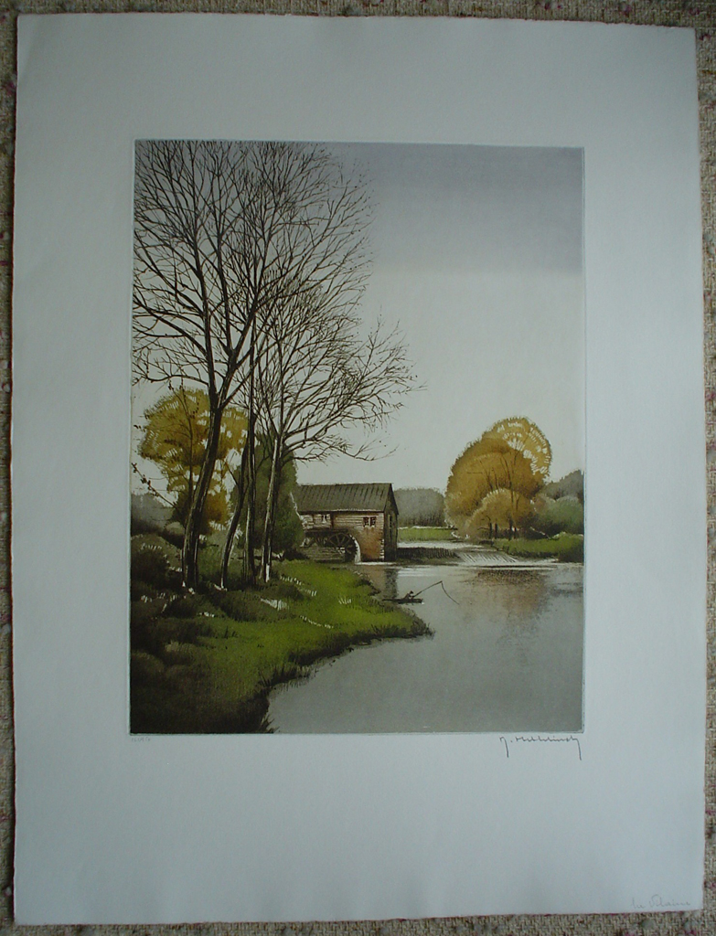 La Vilaine by Roger Hebbelinck, shown with full margins - original etching, signed and numbered 161/ 350