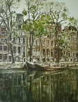 Amsterdam Gracht by Roger Hebbelinck - original etching, signed and numbered 45/ 350