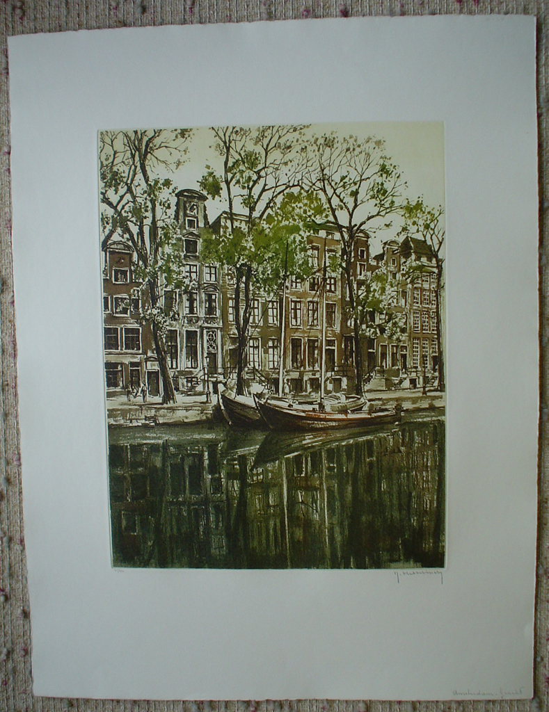 Amsterdam Gracht by Roger Hebbelinck, shown with full margins - original etching, signed and numbered 45/ 350