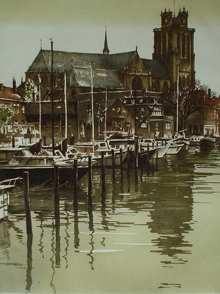 Dordrecht Grote Kerk by Roger Hebbelinck - original etching, signed and numbered 24/ 350