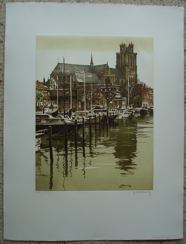 Dordrecht Grote Kerk by Roger Hebbelinck, shown with full margins - original etching, signed and numbered 24/ 350