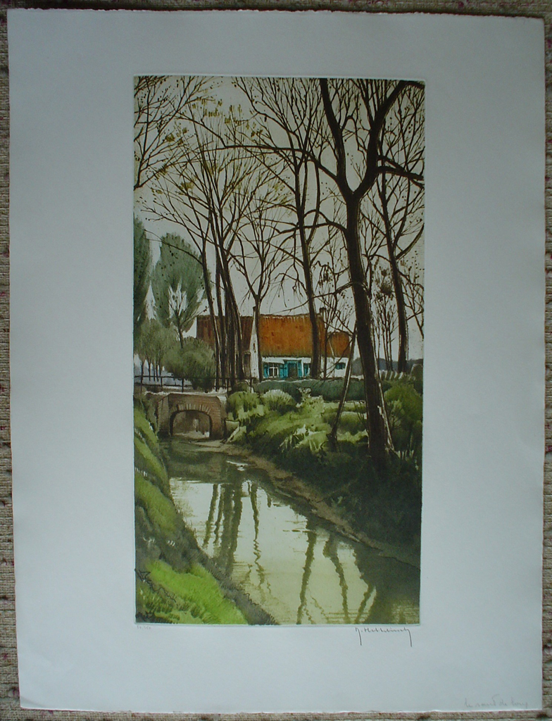 La Route De Loup by Roger Hebbelinck, shown with full margins  - original etching, signed and numbered 34/ 350