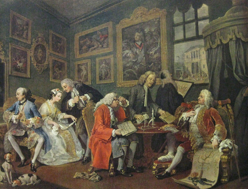 Hogarth the marriage contract marriage a la mode for Artist mural contract