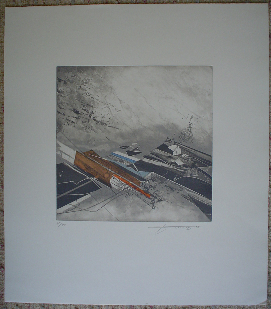 Brown Blue Red '85 by Jung, shown with full margins - original etching, signed and numbered 25/ 95