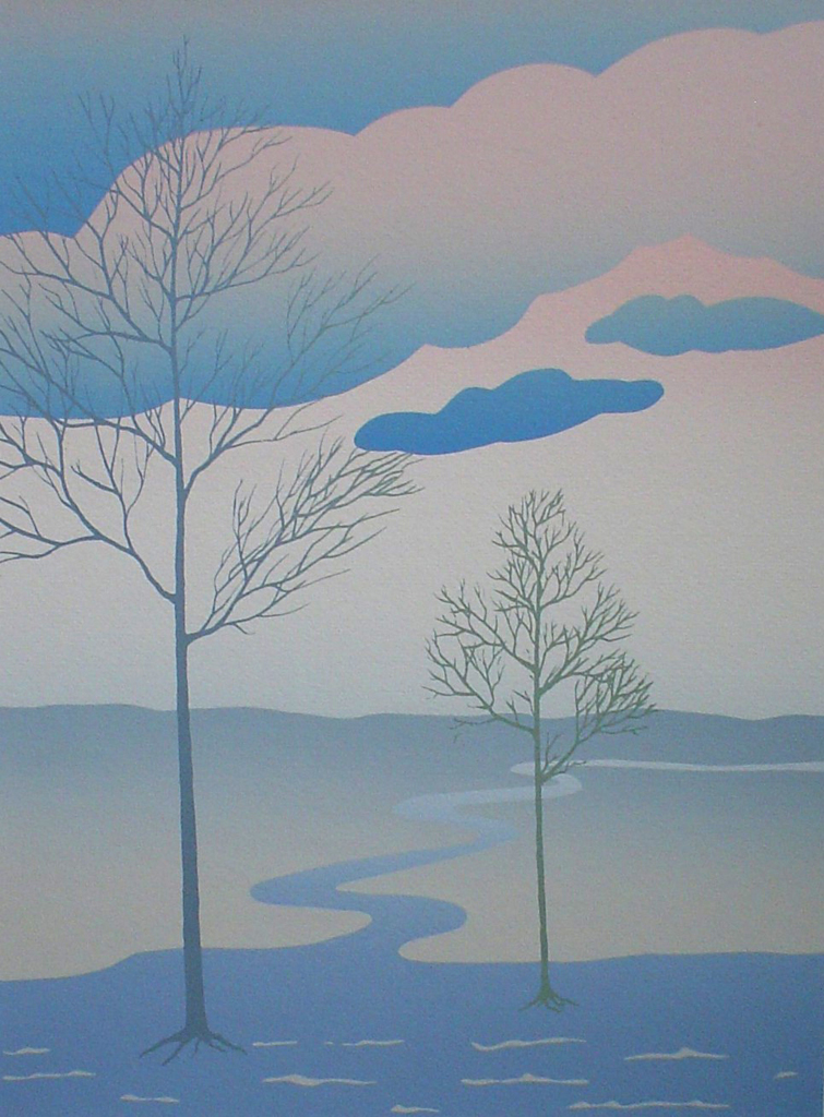 Tree Path Landscape by Key - original silkscreen, hand-signed in pencil by artist