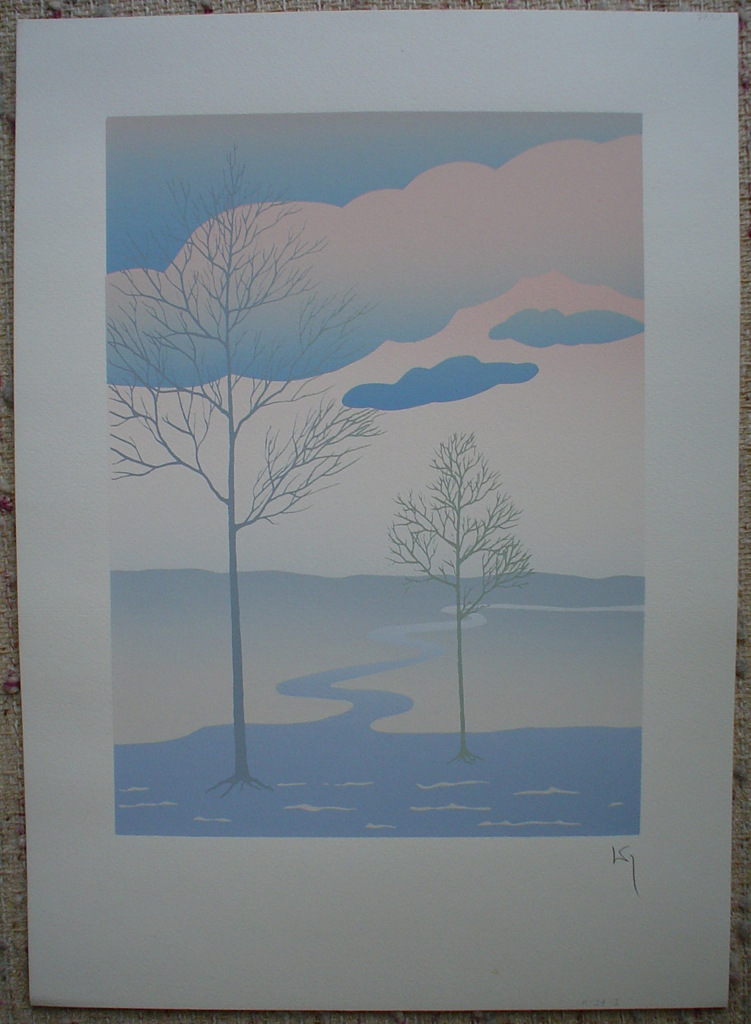 Tree Path Landscape by Key, shown with full margins - original silkscreen, hand-signed in pencil by artist