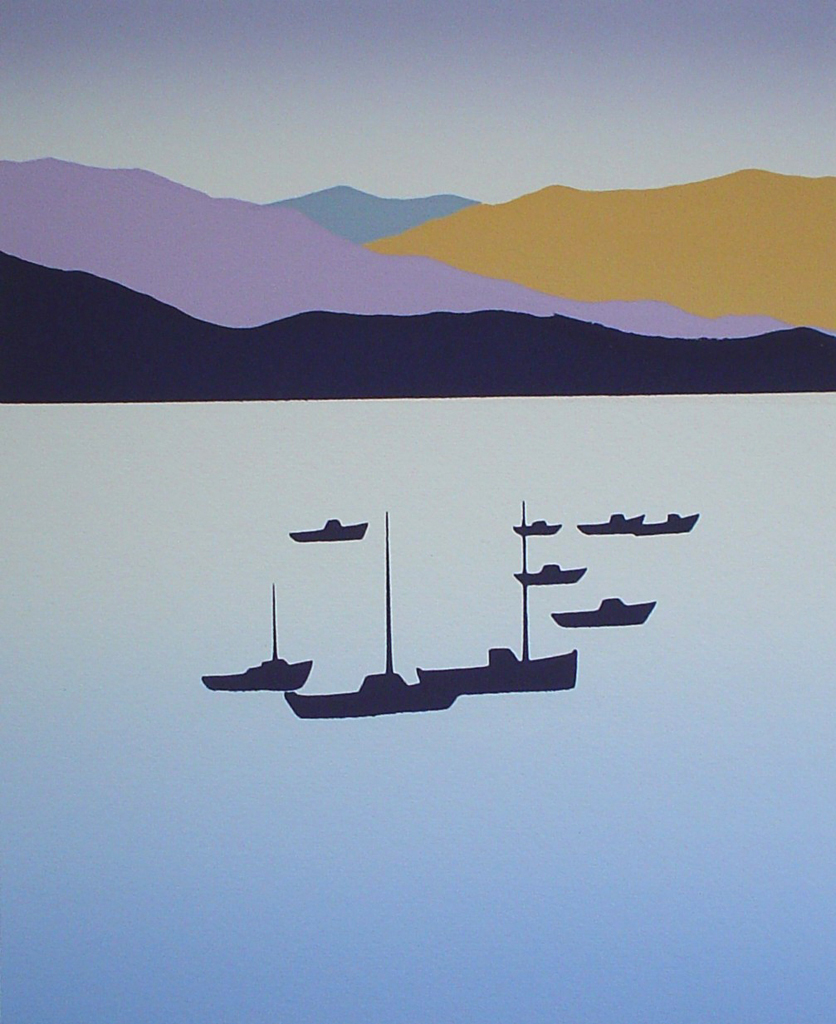 Ships Mountains Harbour by Key - original silkscreen, hand-signed in pencil by artist