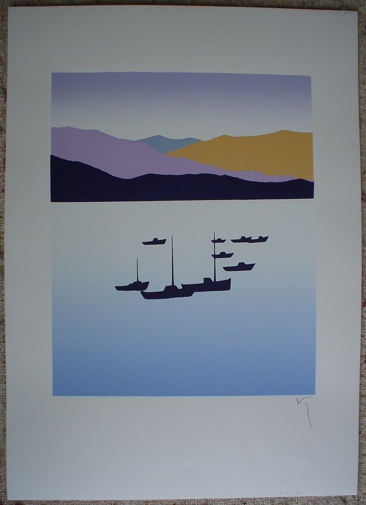 Ships Mountains Harbour by Key, shown with full margins - original silkscreen, hand-signed in pencil by artist