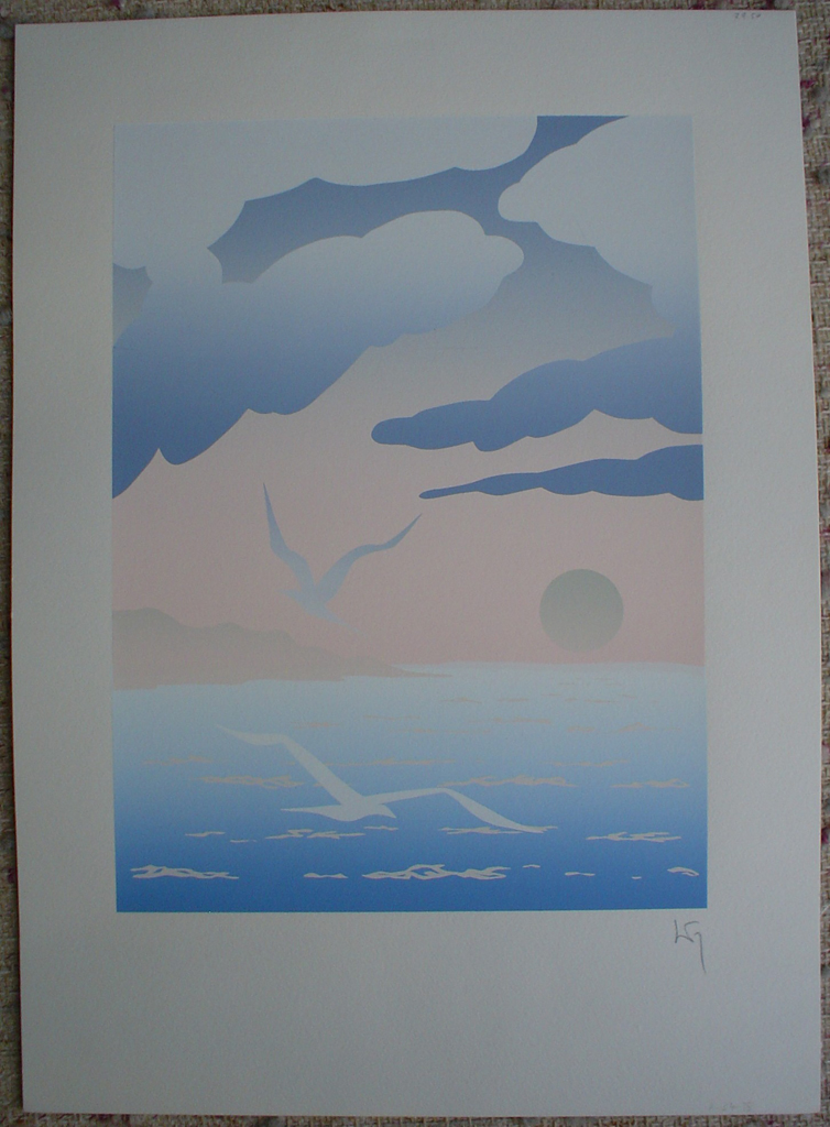 Seagull Waterscape by Key, shown with full margins - original silkscreen, hand-signed in pencil by artist