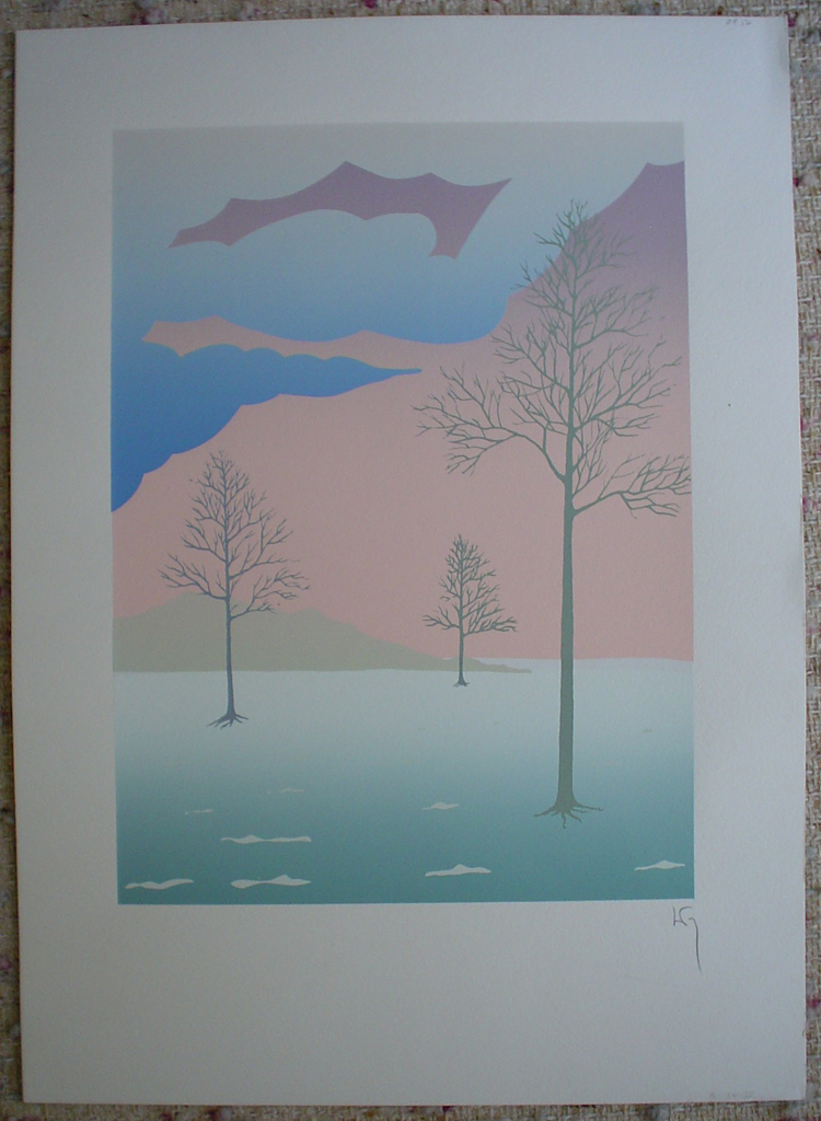 Three Trees by Key, shown with full margins - original silkscreen, hand-signed in pencil by artist