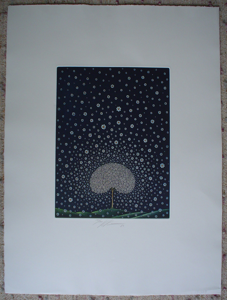 Daisy Tree by Volker Kuehn, shown with full margins - original etching, signed and numbered 181/ 300
