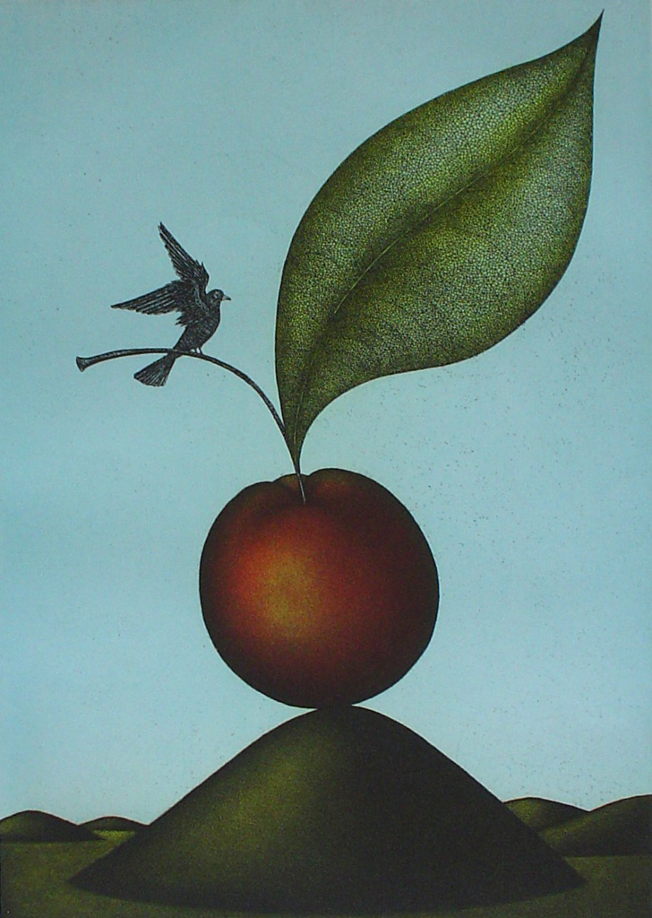 Cherry Bird by Volker Kuehn - original etching, signed and numbered 227/ 300