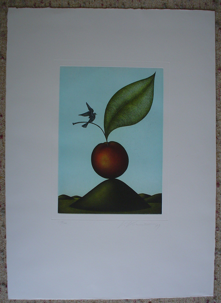 Cherry Bird by Volker Kuehn, shown with full margins - original etching, signed and numbered 227/ 300