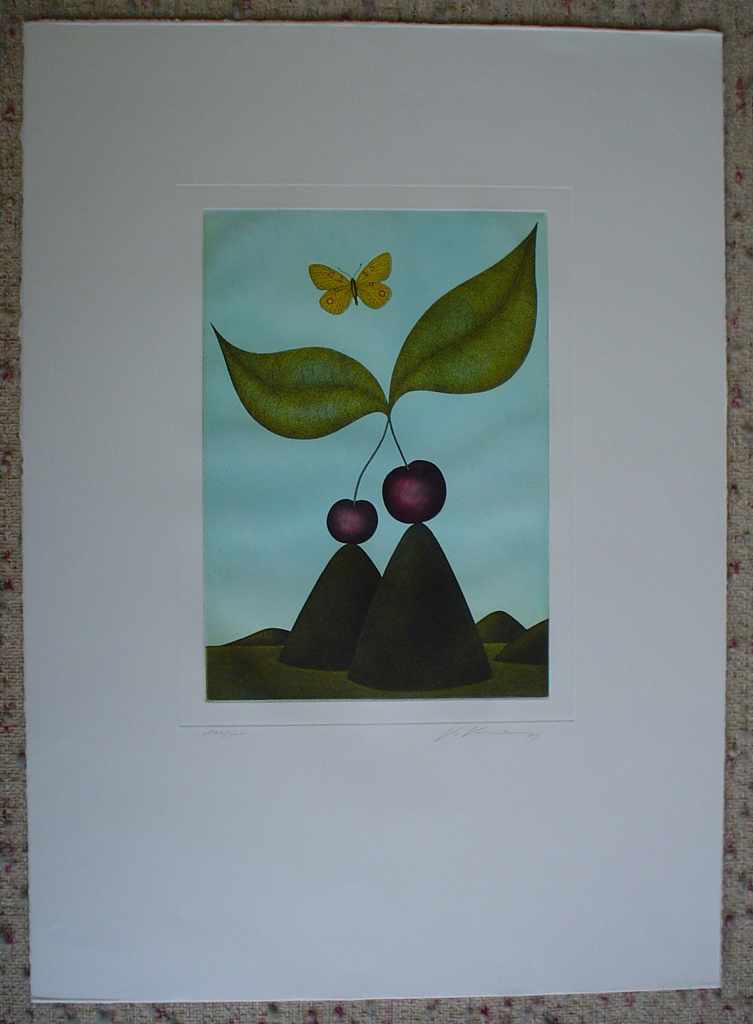 Double Cherry Butterfly by Volker Kuehn, shown with full margins - original etching, signed and numbered 175/ 300