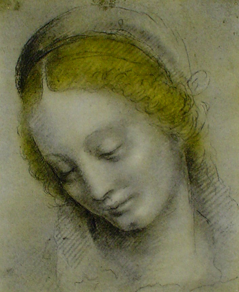Head Of A Woman by Bernardino Luini - offset lithograph fine art print