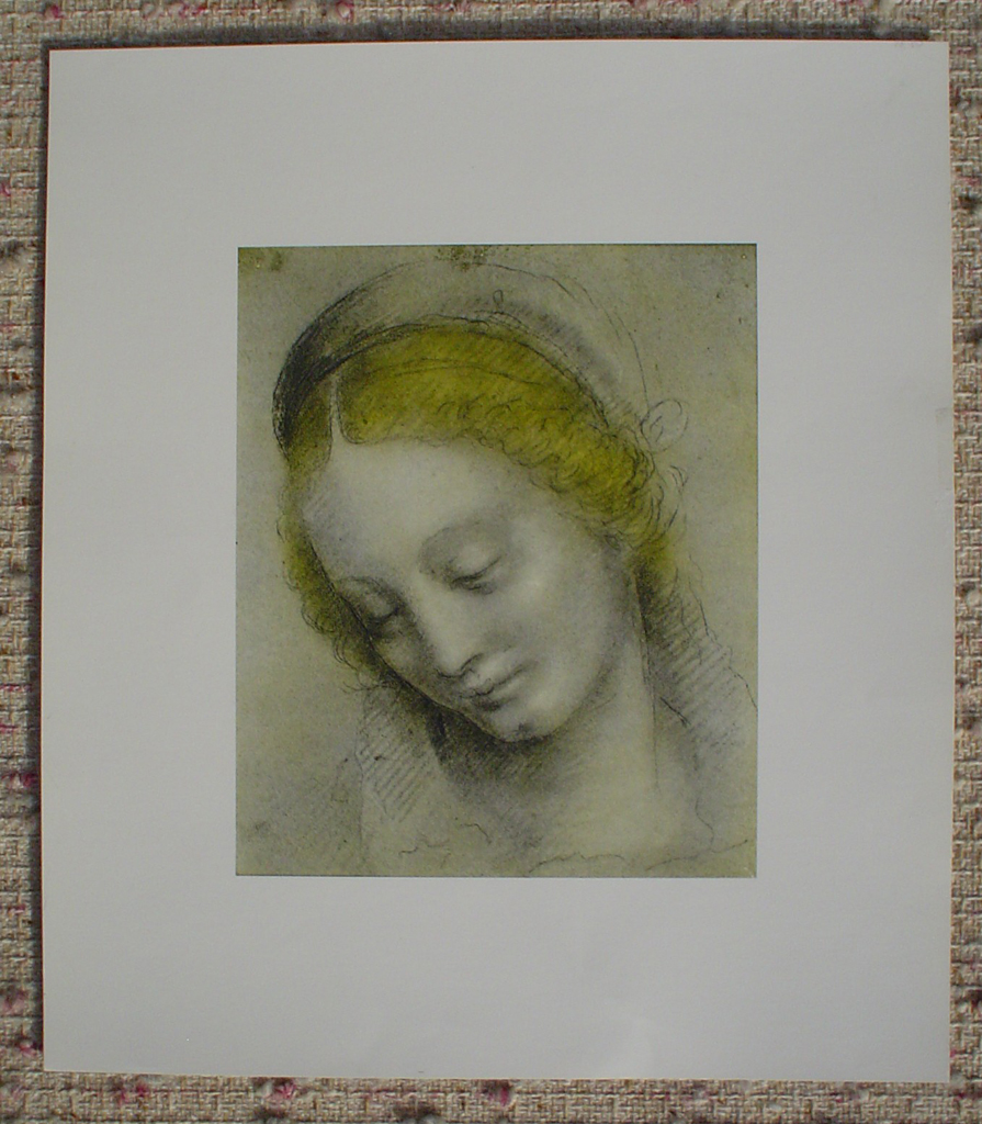 Head Of A Woman by Bernardino Luini, shown with full margins - offset lithograph fine art print