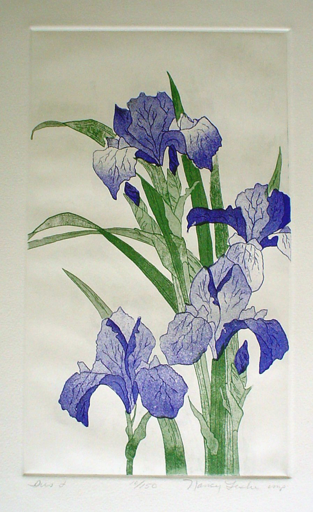 Iris 1 by Nancy Leslie - original etching, signed and numbered edition of 150
