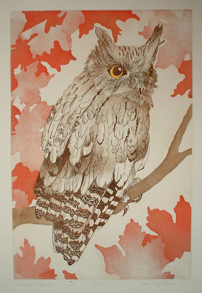 Screech Owl by Nancy Leslie - original etching, signed and numbered 22/ 150