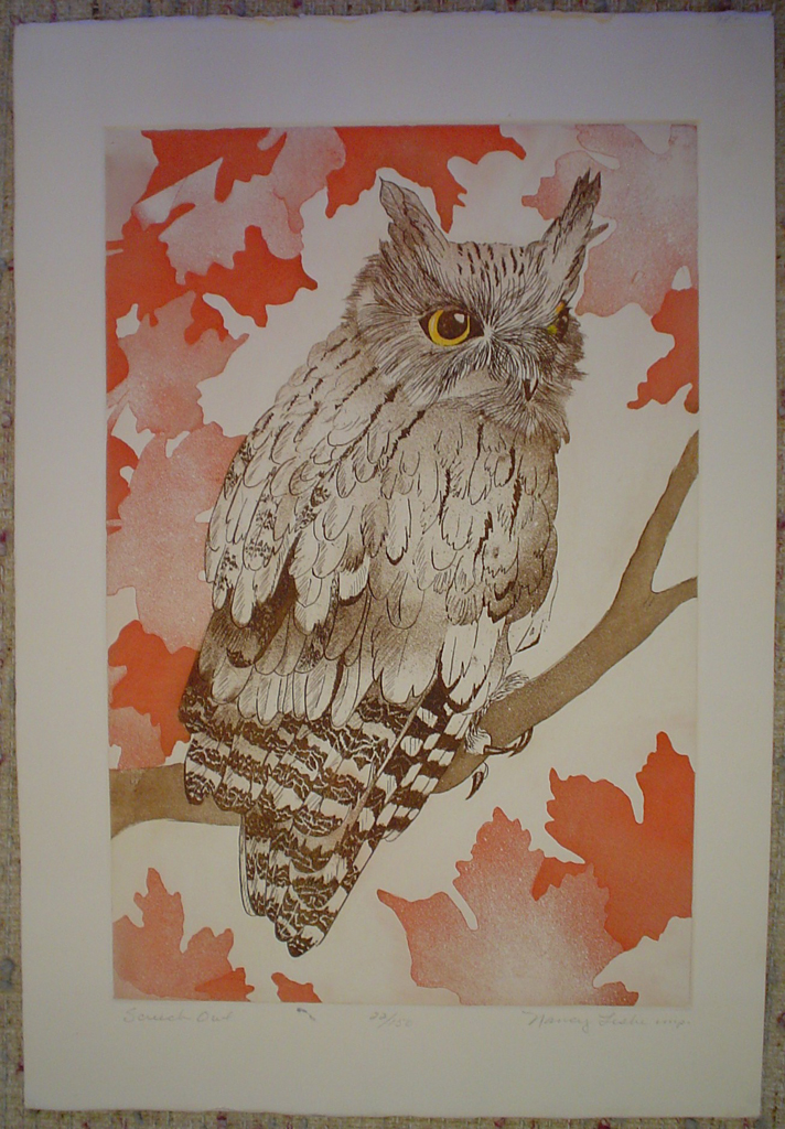 Screech Owl by Nancy Leslie, shown with full margins - original etching, signed and numbered 22/ 150