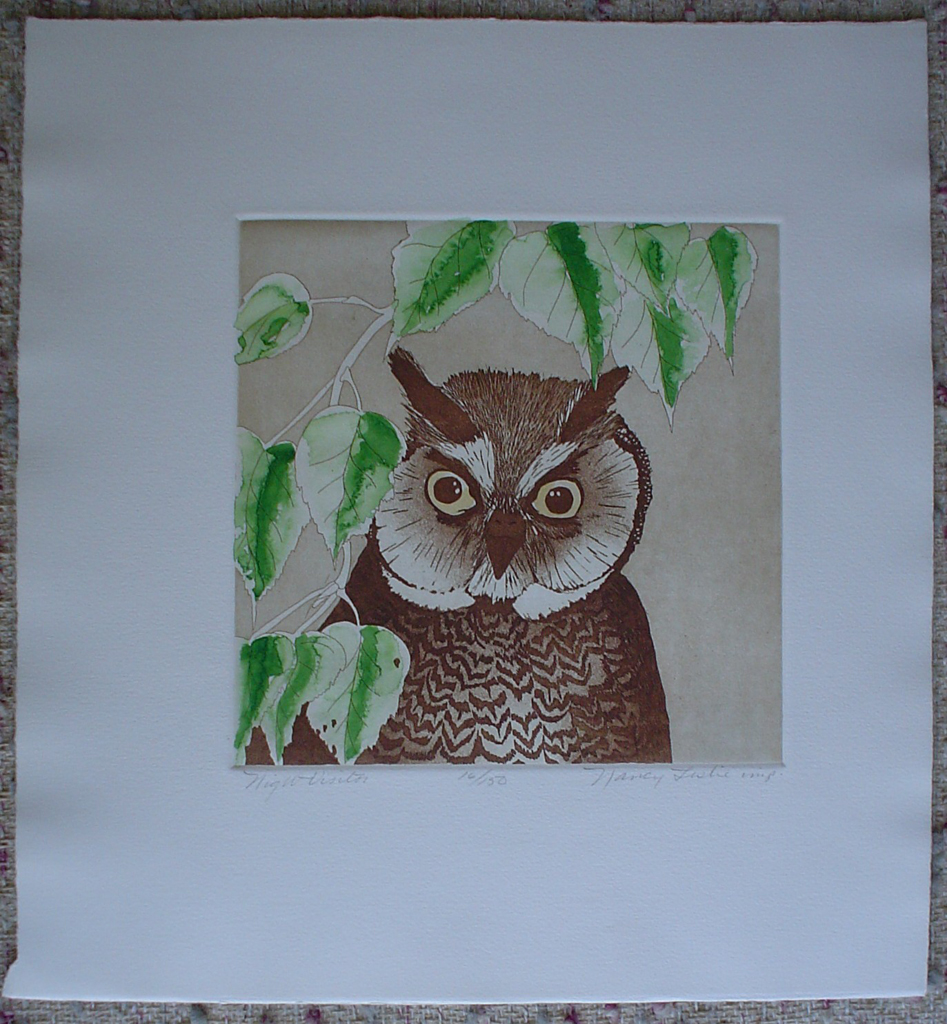 Night Visitor by Nancy Leslie, shown with full margins - original etching, signed and numbered 16/ 150