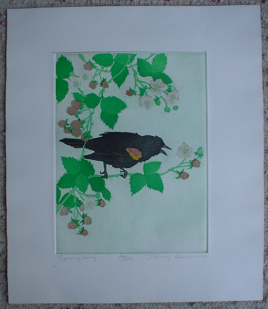 Spring Song by Nancy Leslie, shown with full margins - original etching, signed and numbered edition of 150