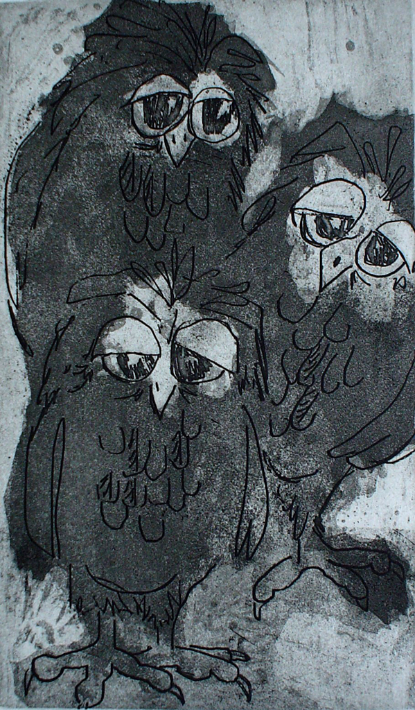 Siblings, 3 Owls by Nancy Leslie - original etching, signed and numbered 38/ 200