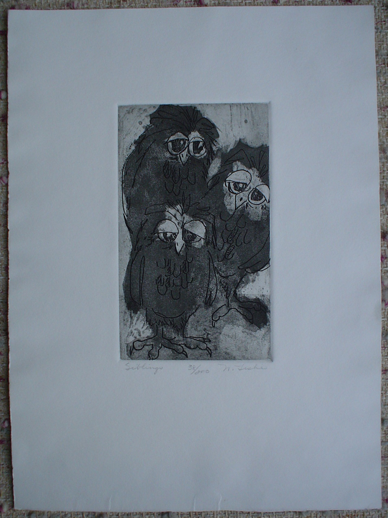 Siblings, 3 Owls by Nancy Leslie, shown with full margins- original etching, signed and numbered 38/ 200