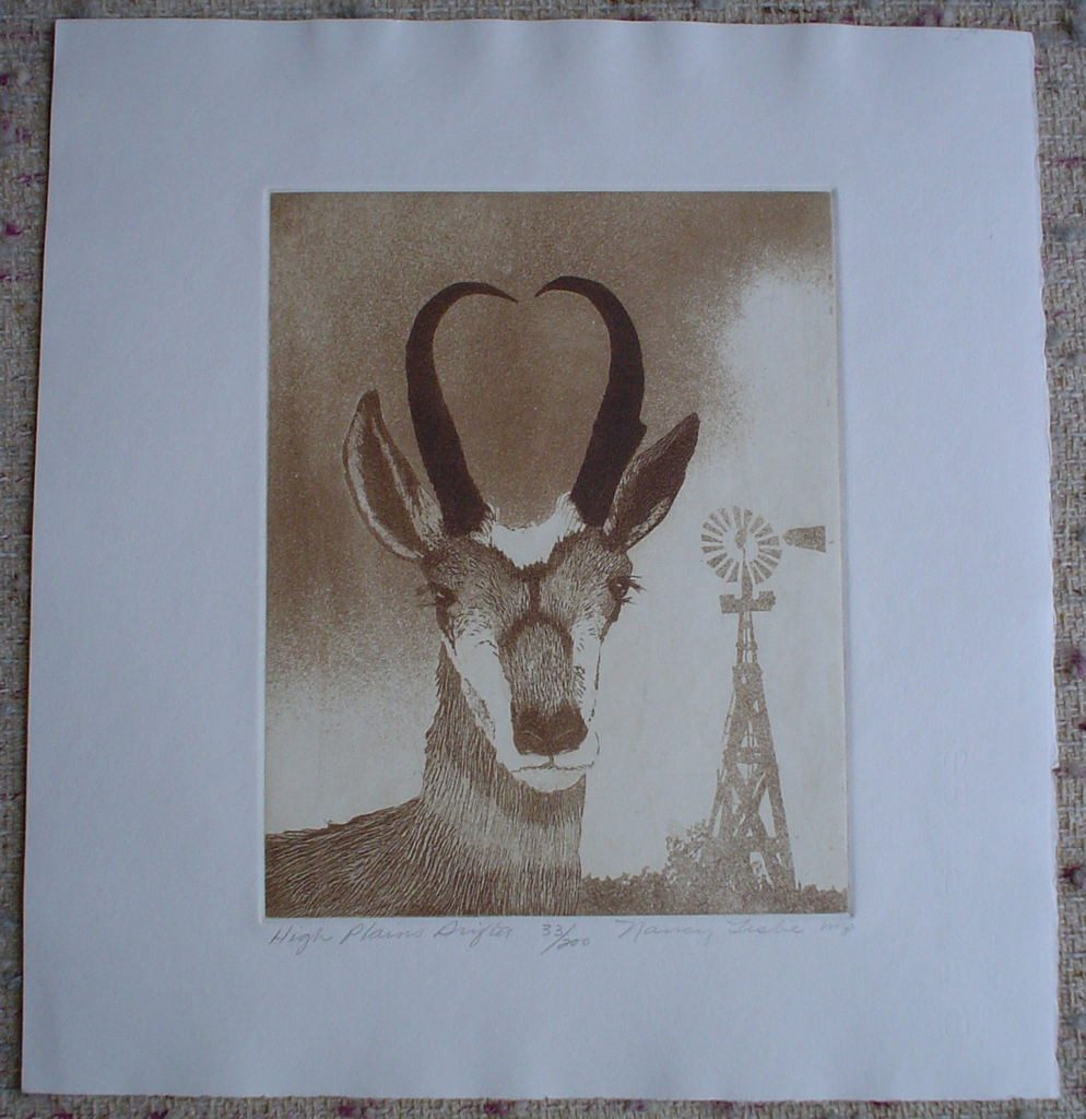 High Plains Drifter by Nancy Leslie, shown with full margins - original etching, signed and numbered edition of 200