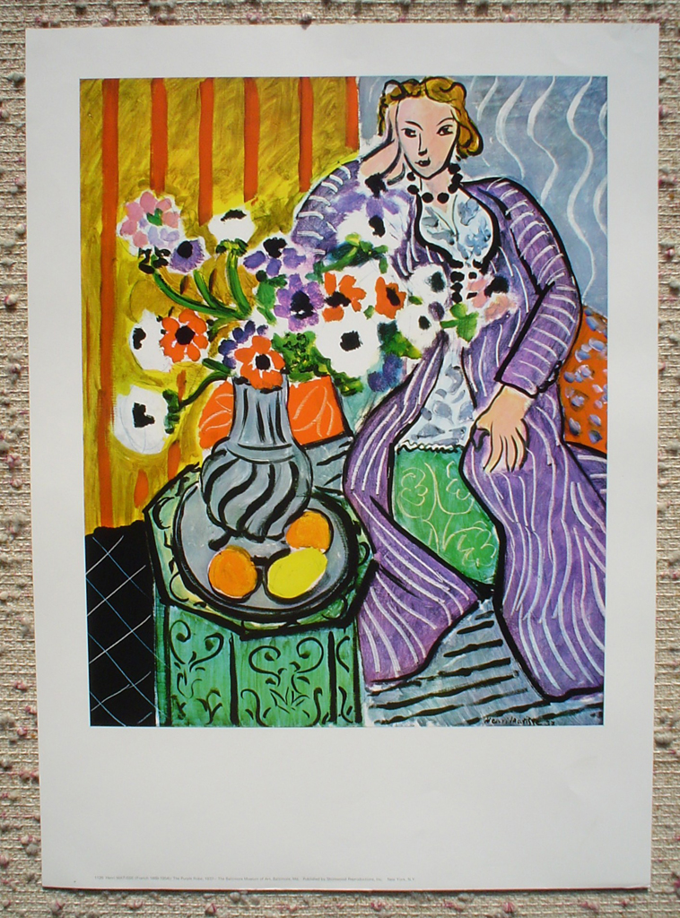 The Purple Robe by Henri Matisse, shown with full margins - offset lithograph fine art print