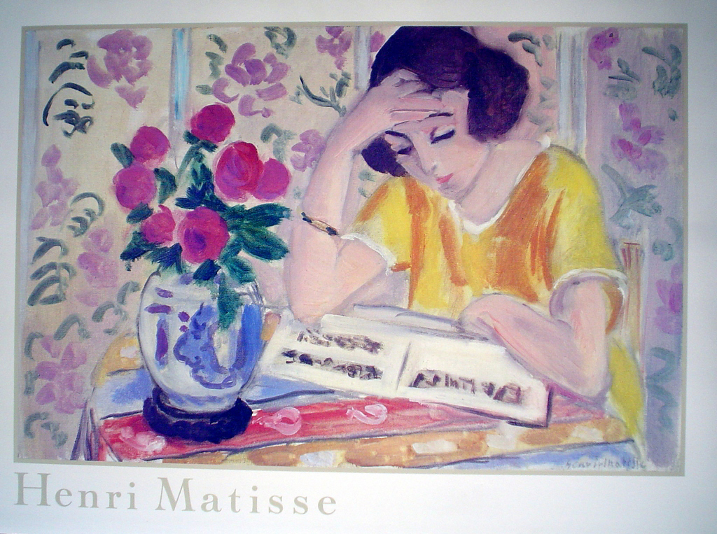 Girl Reading by Henri Matisse - offset lithograph fine art poster