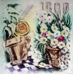 Flowers In Baskets by JP Moro - original etching, signed and numbered 14/ 295