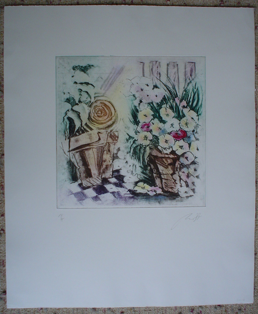 Flowers In Baskets by JP Moro, shown with full margins - original etching, signed and numbered 14/ 295
