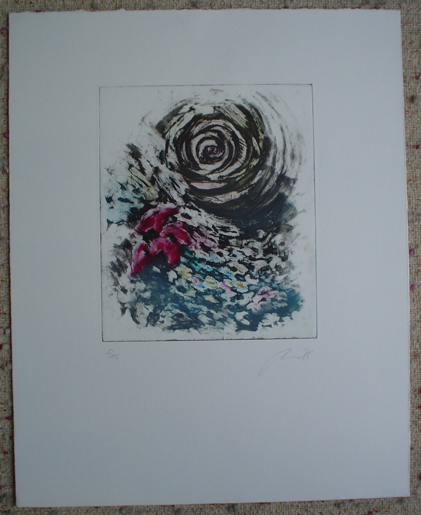 Flower Swirl by JP Moro, shown with full margins - original etching, signed and numbered 5/ 115