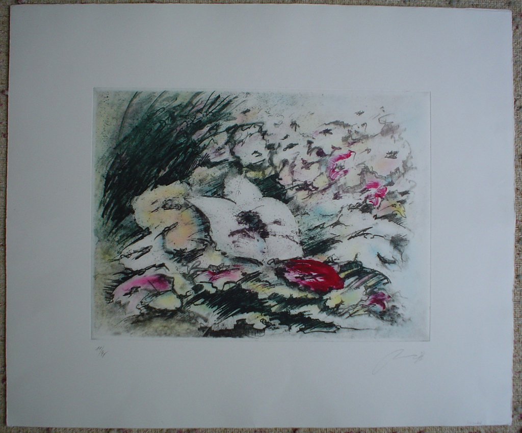 White Flower by JP Moro, shown with full margins - original etching, signed and numbered 18/ 150