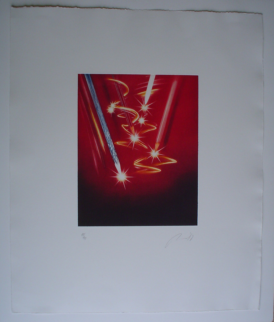 Pencil Sparkles by JP Moro, shown with full margins - original etching, signed and numbered 10/ 150
