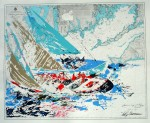 America's Cup 19th Challenge Newport by Leroy Neiman, shown with full margins - original serigraph, silkscreen