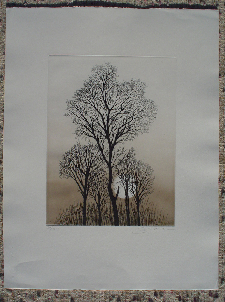 Full Moon Trees by Udo Nolte, shown with full margins - original etching, signed and numbered 29/ 200
