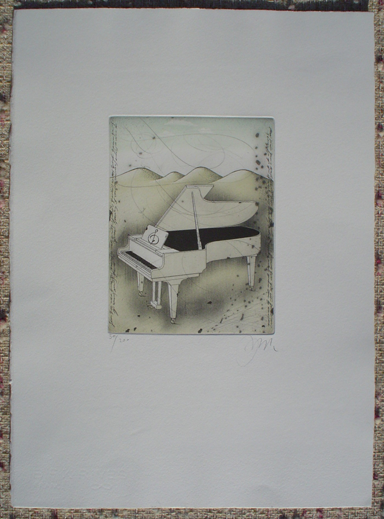 Grand Piano by Udo Nolte, shown with full margins - original etching, signed and numbered 30/ 200