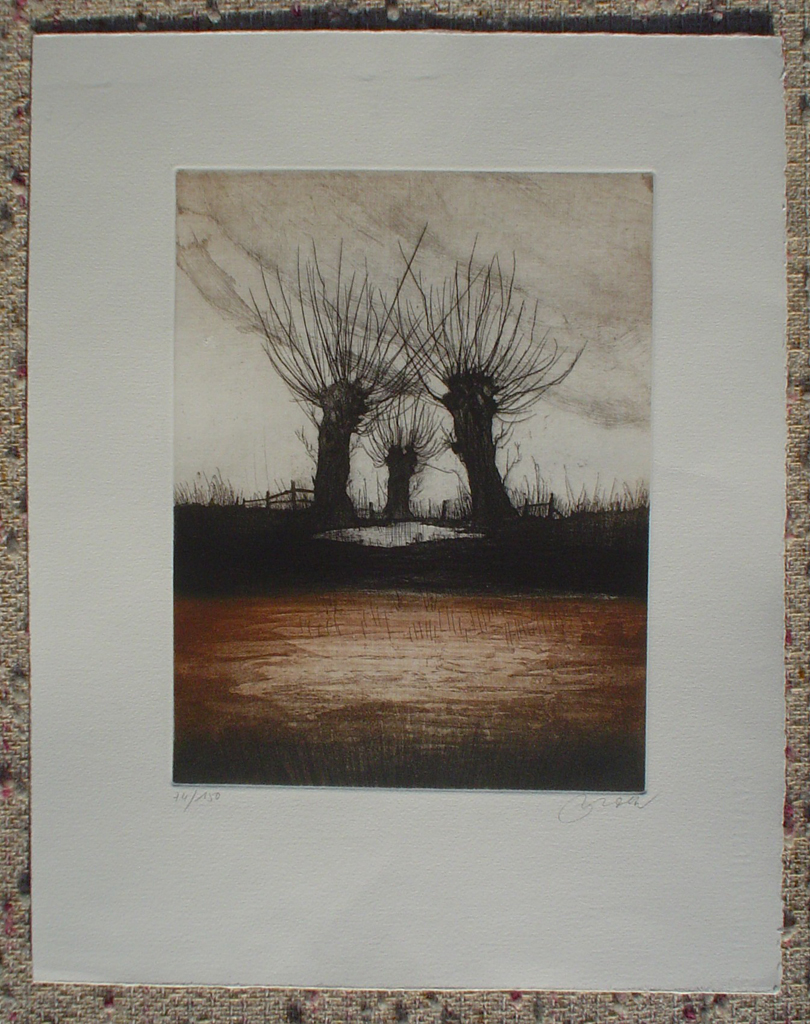 Three Trees by Udo Nolte, shown with full margins - original etching, signed and numbered 74/ 150