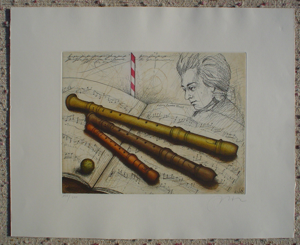 Wolfgang Amadeus Mozart by Udo Nolte, shown with full margins - original etching, signed and numbered 158/ 200