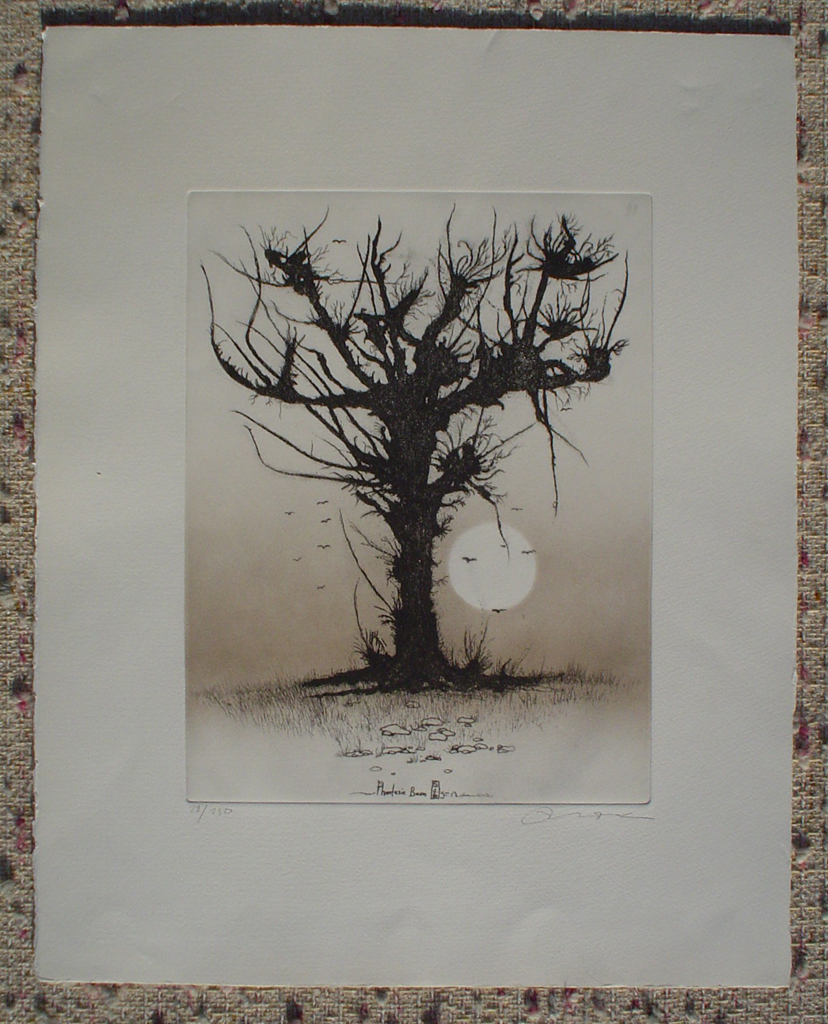 Phantasie Tree by Udo Nolte, shown with full margins - original etching, signed and numbered 28/ 200