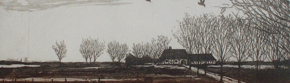 Farmhouse Fields With Birds by Udo Nolte - original etching, signed and numbered 100/ 150
