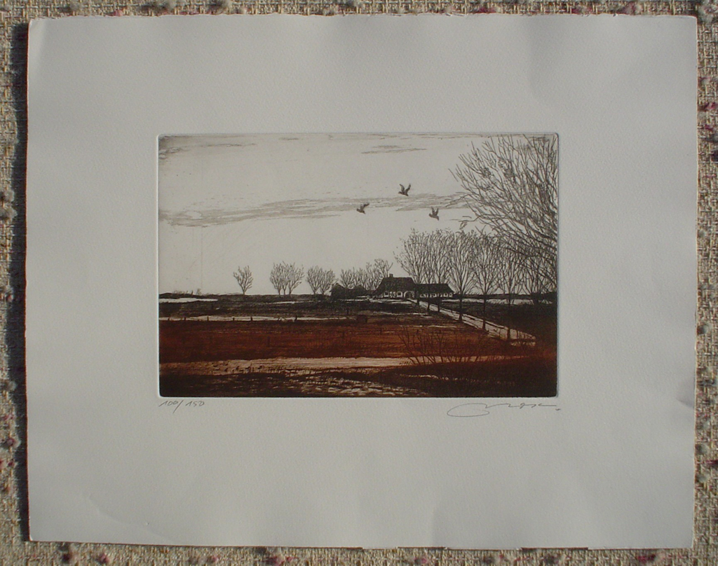 Farmhouse Fields With Birds by Udo Nolte, shown with full margins - original etching, signed and numbered 100/ 150