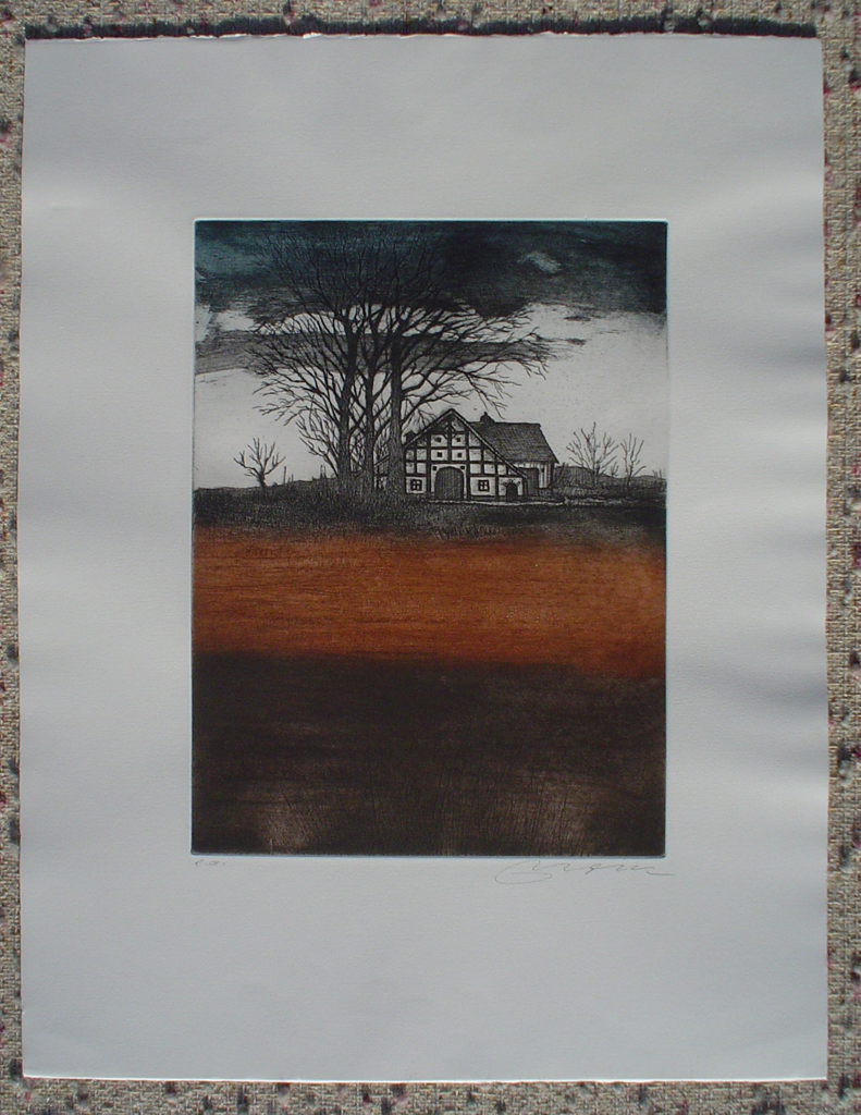 Farmhouse Under Trees by Udo Nolte, shown with full margins - original etching, signed and numbered e.a. (artist proof)